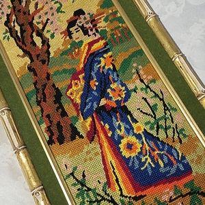 Vintage Geisha Girl Embroidery Wall Art